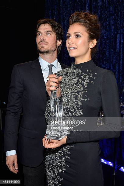 """Actors Ian Somerhalder and Nina Dobrev, winners of the Favorite On Screen Chemistry award for """"The Vampire Diaries,"""" attend The 40th Annual People's..."""
