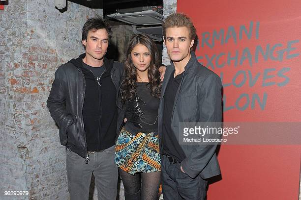 """Actors Ian Somerhalder, Nina Dobrev and Paul Wesley attend the """"Love Bites"""" dinner and after party to celebrate the February Vampire Diaries cover..."""