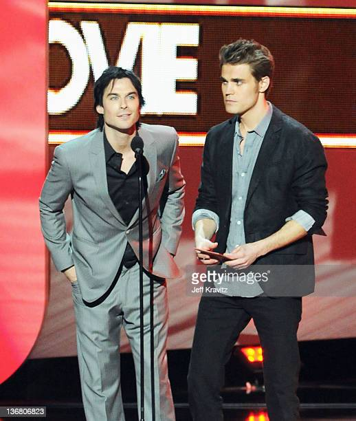 Actors Ian Somerholder and Paul Wesley speak onstage at the 2012 People's Choice Awards at Nokia Theatre LA Live on January 11 2012 in Los Angeles...