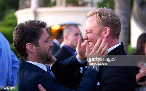 **EXCLUSIVE** Actors Ian Ziering and Jason Priestley pose during Beverly Hills 90210Õs Ian Ziering and Erin Ludwig's wedding celebration held at the...