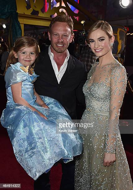 Actors Ian Ziering and Lily James attend the premiere of Disney's Cinderella at the El Capitan Theatre on March 1 2015 in Hollywood California