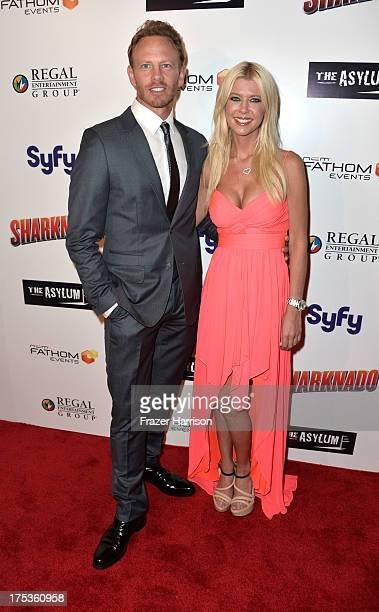 """Actors Ian Ziering and Tara Reid arrive at Fathom Events Presents The Premiere Of The Asylum And Syfy's """"Sharknado"""" at Regal Cinemas L.A. Live on..."""