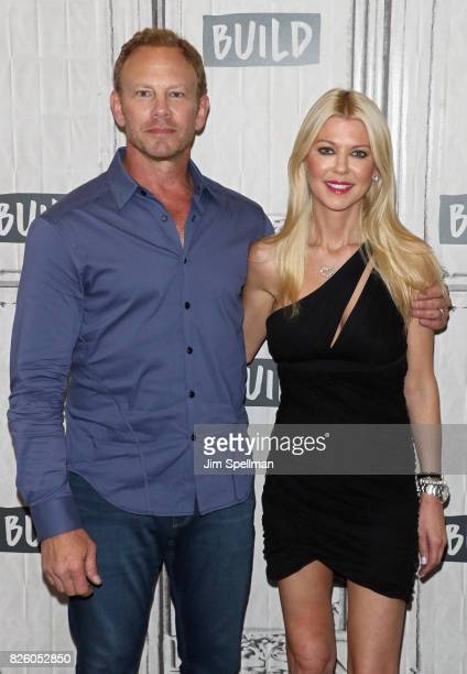 Actors Ian Ziering and Tara Reid attend Build to discuss the film Sharknado 5 Global Swarming at Build Studio on August 3 2017 in New York City