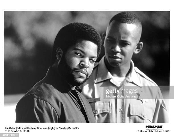 Actors Ice Cube and Michael Boatman in a scene from the movie 'The Glass Shield' circa 1994