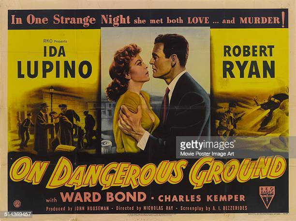 Actors Ida Lupino and Robert Ryan appear on a poster for the RKO movie 'On Dangerous Ground' 1951