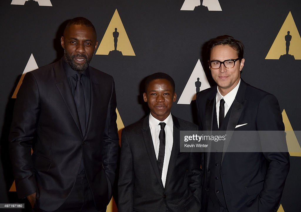 Actors Idris Elba, Abraham Attah and director Cary Joji Fukunaga attend the Academy of Motion Picture Arts and Sciences' 7th annual Governors Awards at The Ray Dolby Ballroom at Hollywood & Highland Center on November 14, 2015 in Hollywood, California.