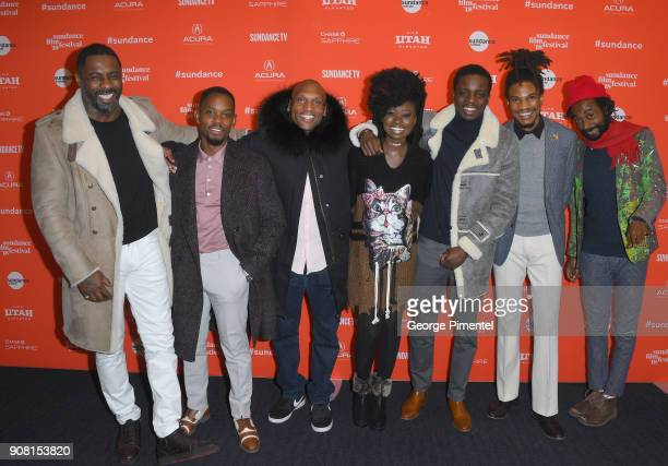 Actors Idris Elba Aml Ameen Mark Rhino Smith Shantol Jackson Riaze Foster Sheldon Shepherd and Everaldo Creary attend 'Yardie' Premiere during the...