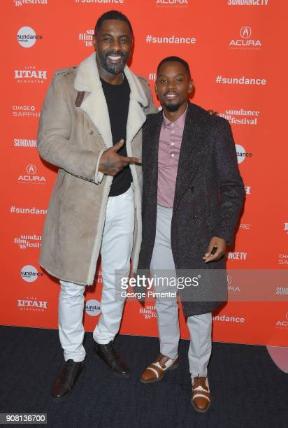 Actors Idris Elba and Aml Ameen attend 'Yardi' Premiere during the 2018 Sundance Film Festival at The Ray on January 20 2018 in Park City Utah