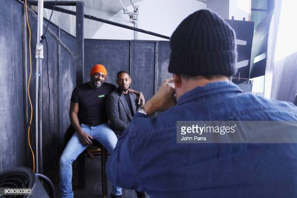 Actors Idris Elba and Aml Ameen from 'Yardie' attend The Hollywood Reporter 2018 Sundance Studio at Sky Strada Park City on January 20 2018 in Park...