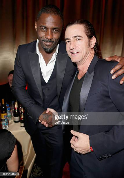 Actors Idris Elba and Dermot Mulroney attend The Weinstein Company Netflix's 2014 Golden Globes After Party presented by Bombardier FIJI Water Lexus...