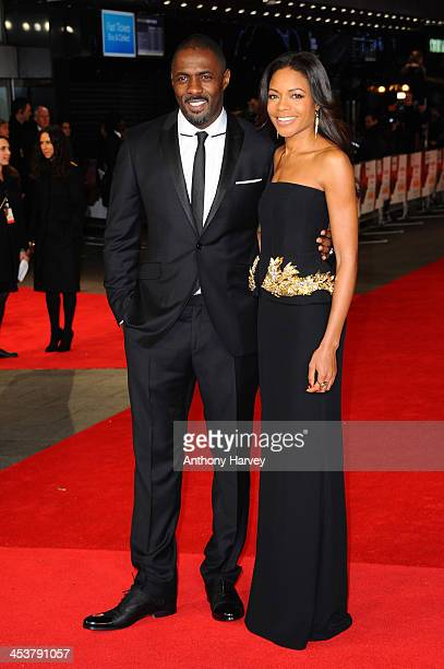 """Actors Idris Elba and Naomie Harris attend the Royal film performance of """"Mandela: Long Walk to Freedom"""" on December 5, 2013 in London, United..."""