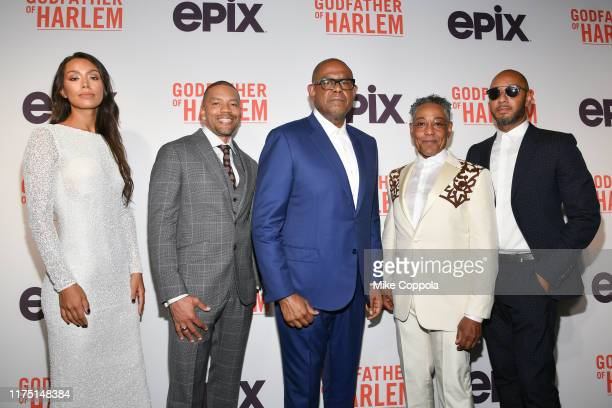 Actors IIfenesh Hadera Nigel Thatch Forest Whitaker Giancarlo Esposito and Executive music producer Swizz Beats attend the Godfather Of Harlem New...