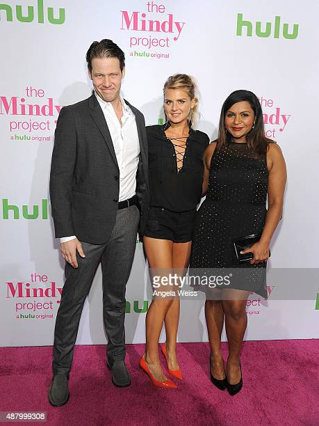 Actors Ike Barinholtz Eliza Coupe and Mindy Kaling attend Hulu's 'The Mindy Project' Season Four premiere at Ysabel on September 12 2015 in West...