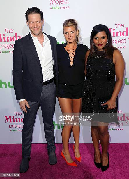 """Actors Ike Barinholtz, Eliza Coupe and Mindy Kaling attend the premiere of Hulu's """"The Mindy Project"""" 4th season at Ysabel on September 12, 2015 in..."""