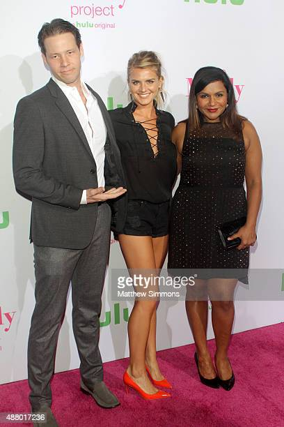 Actors Ike Barinholtz Eliza Coupe and Mindy Kaling attends the preemiere of the 4th season of Hulu's The Mindy Project at Ysabel on September 12 2015...