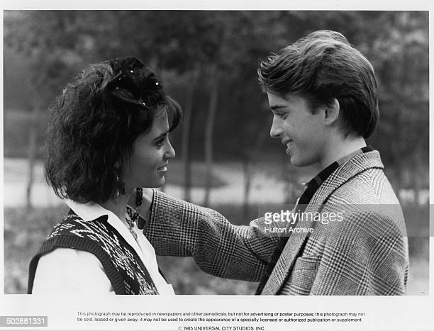 Actors Ilan MitchellSmith and Judie Aronson talk in a scene of the Universal Studio movie Weird Science