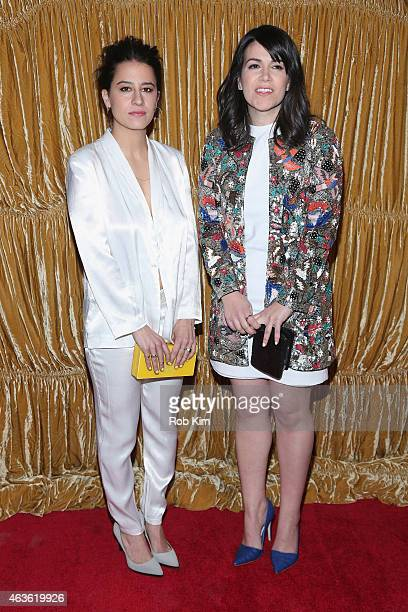 Actors Ilana Glazer and Abbi Jacobson pose backstage at the alice olivia by Stacey Bendet fashion show during MercedesBenz Fashion Week Fall 2015 on...