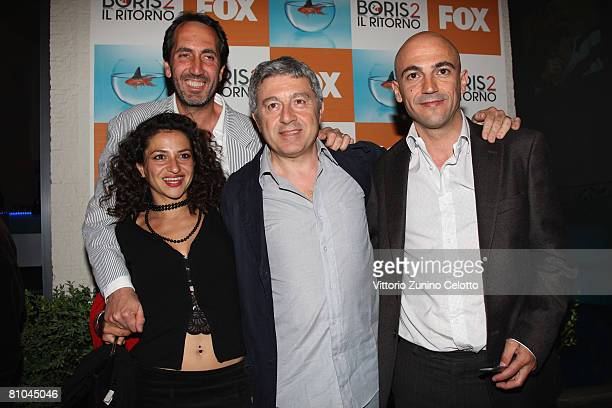 Actors Ilaria Stivali Paolo Calabresi Antonio Catania and Luca Amorosino attend the 'Boris 2' Party Launch Organized by Fox TV on May 09 2008 in...