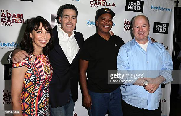 Actors Illeana Douglas Adam Carolla David Alan Grier and Larry Miller attend an Adam Carolla and Donald Trump press conference at the ACME Comedy...