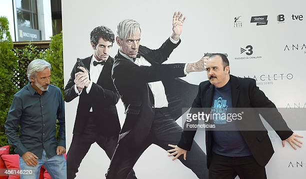 Actors Imanol Arias and Carlos Areces attend a photocall for 'Anacleto Agente Secreto' at the Gran Melia Fenix Hotel on September 1 2015 in Madrid...