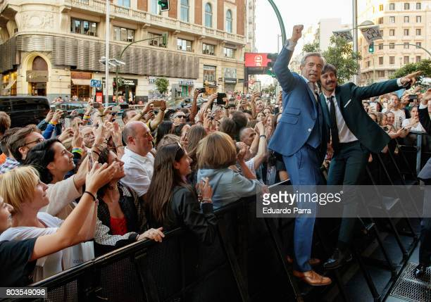 Actors Imanol Arias and Hugo Silva attend the 'Despido procedente' photocall at Callao cinema on June 29 2017 in Madrid Spain