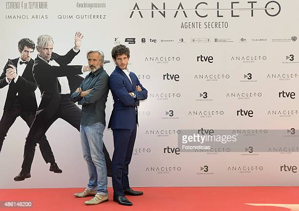 Actors Imanol Arias and Quim Gutierrez attend a photocall for 'Anacleto Agente Secreto' at the Gran Melia Fenix Hotel on September 1 2015 in Madrid...