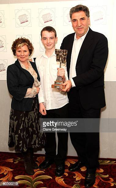 Actors Imelda Staunton Alex Etel and Jim Carter pose in the awards room with the TV Drama Programme award sponsored by Toshiba for 'Cranford' at the...