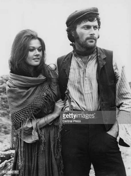 Actors Imogen Hassall and Franco Nero on the set of the film 'The Virgin And The Gypsy' England 9th September 1969 The film is based on the novel by...