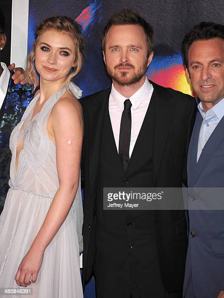 Actors Imogen Poots Aaron Paul and Director/executive producer Scott Waugh arrive at the Los Angeles premiere of 'Need For Speed' at TCL Chinese...