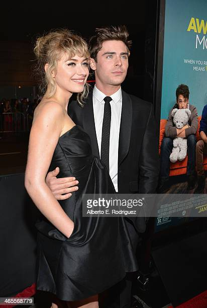 Actors Imogen Poots and Zac Efron arrive to the premiere of Focus Features' That Awkward Moment at Regal Cinemas LA Live on January 27 2014 in Los...