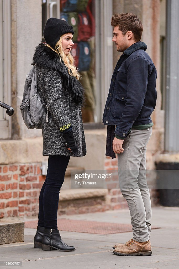 Actors Imogen Poots (L) and Zac Efron film scene at the 'Are We Officially Dating?' movie set in Soho on December 20, 2012 in New York City.