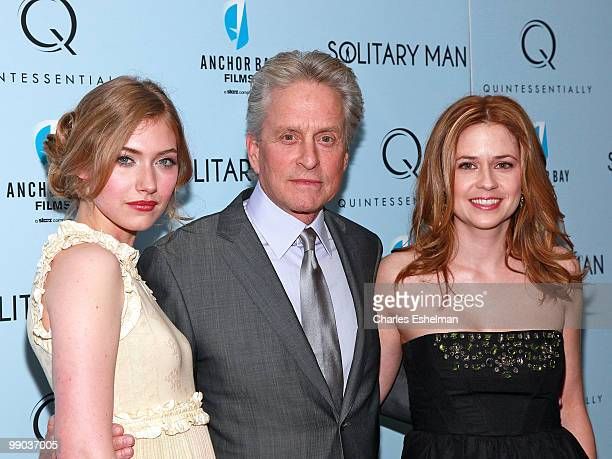 Actors Imogen Poots Michael Douglas and Jenna Fischer attend the premiere of Solitary Man at Cinema 2 on May 11 2010 in New York City
