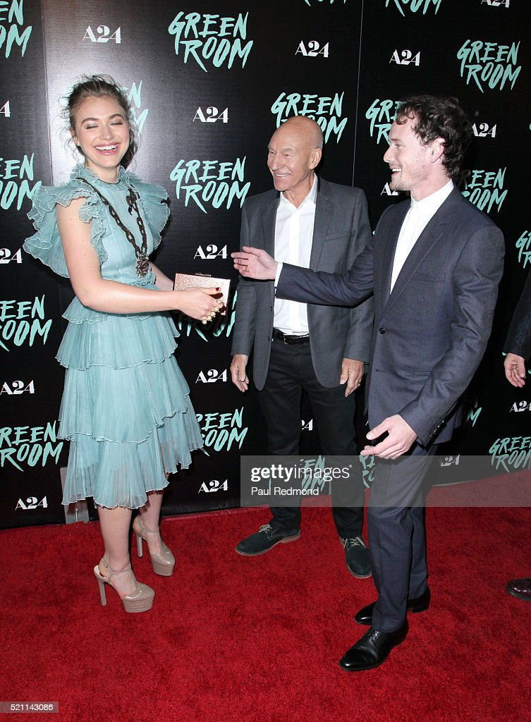 Actors Imogen Poots, Patrick Stewart and Anton Yelchin arrive at the Premiere of A24's 'Green Room' at ArcLight Hollywood on April 13, 2016 in Hollywood, California.