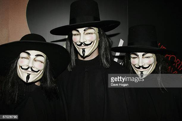 Actors in character costume arrive at the UK Premiere of 'V For Vendetta' at the Empire Leicester Square on March 8 2006 in London England The film...