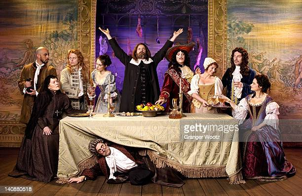 actors in old-fashioned costumes on stage - naughty america stock pictures, royalty-free photos & images