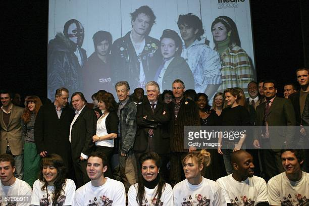 Actors including in 2nd row Sir Ian McKellen Timothy Spall Bruce Payne Jonathan Wrather and Krishnan GuruMurthy attend the launch for the National...
