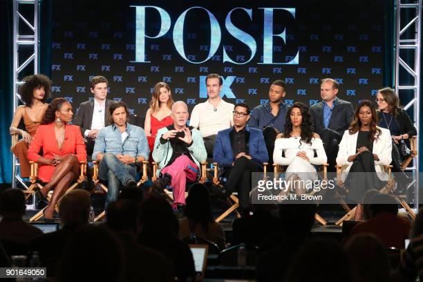 Actors Indya Moore Evan Peters Kate Mara James Van der Beek Ryan Jamaal Swain executive producer Brad Simpson and executive producer Nina Jacobson...