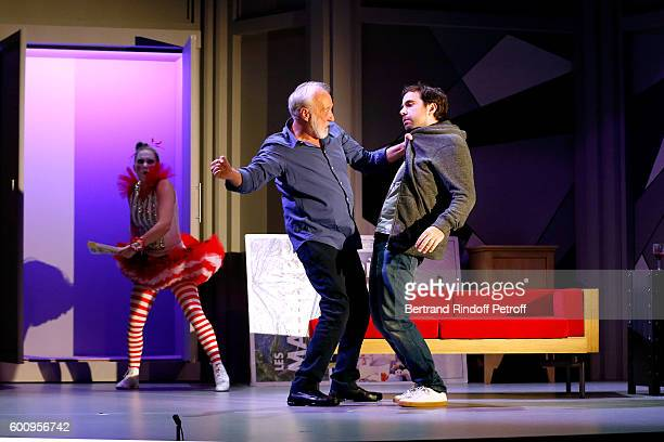 "Actors Ines Valarcher, Francois Berleand and Sebastien Castro perform during the ""Moi, moi et Francois B. "" : Theater Play Presentation at Theatre..."