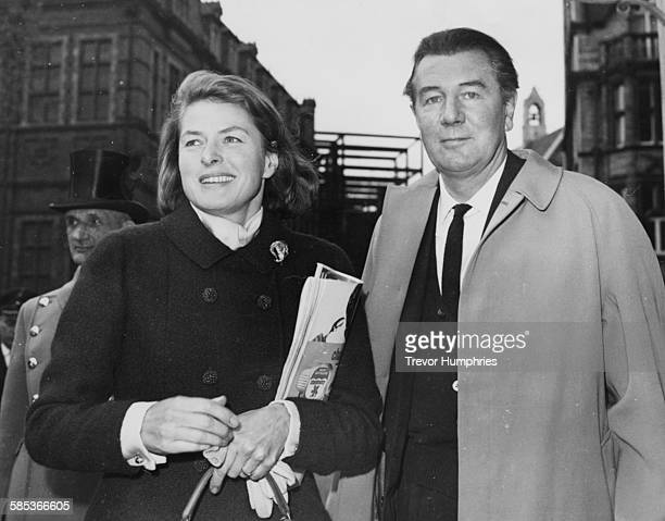 Actors Ingrid Bergman and Sir Michael Redgrave meeting to discuss their new play A Month in the Country' at the Yvonne Arnaud Theatre Guildford...