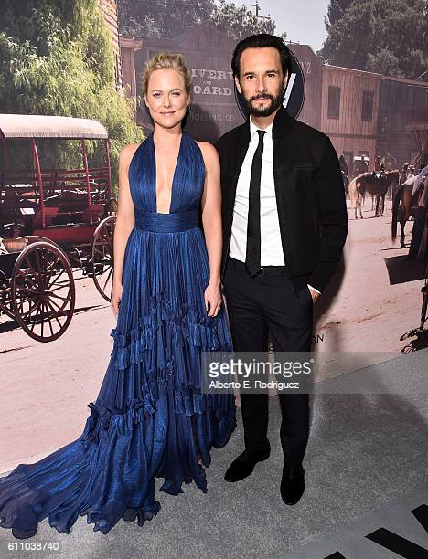 Actors Ingrid Bolso Berdal and Rodrigo Santoro attend the premiere of HBO's 'Westworld' at TCL Chinese Theatre on September 28 2016 in Hollywood...
