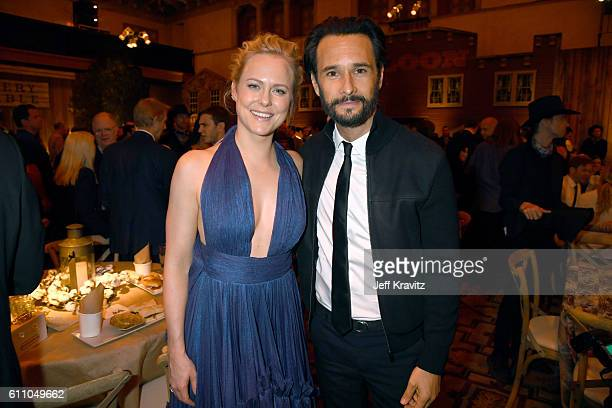 Actors Ingrid Bolso Berdal and Rodrigo Santoro attend the premiere of HBO's 'Westworld' after party at The Hollywood Roosevelt on September 28 2016...