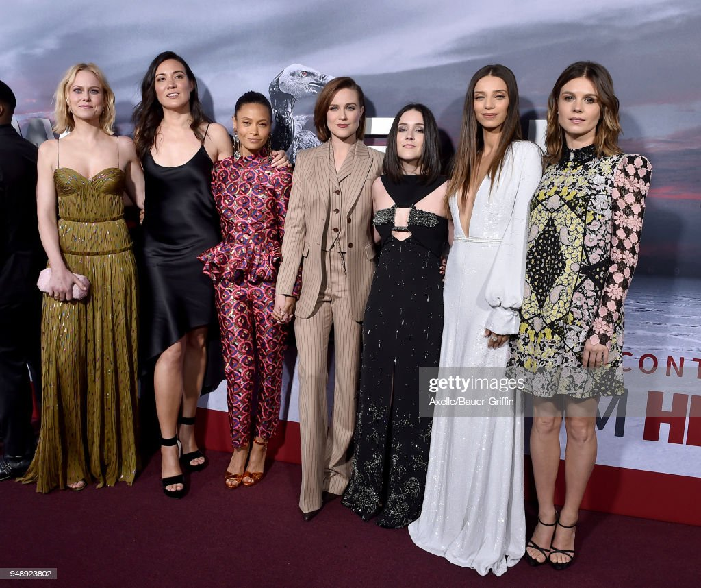 Actors Ingrid Bolso Berdal, guest, Thandie Newton, Evan Rachel Wood, Shannon Woodward, Angela Sarafyan and Katja Herbers arrive at the Los Angeles premiere of HBO's 'Westworld' season 2 at The Cinerama Dome on April 16, 2018 in Los Angeles, California.