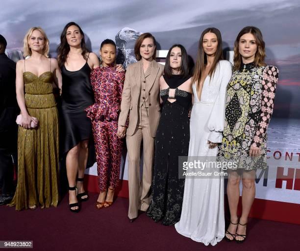 Actors Ingrid Bolso Berdal guest Thandie Newton Evan Rachel Wood Shannon Woodward Angela Sarafyan and Katja Herbers arrive at the Los Angeles...