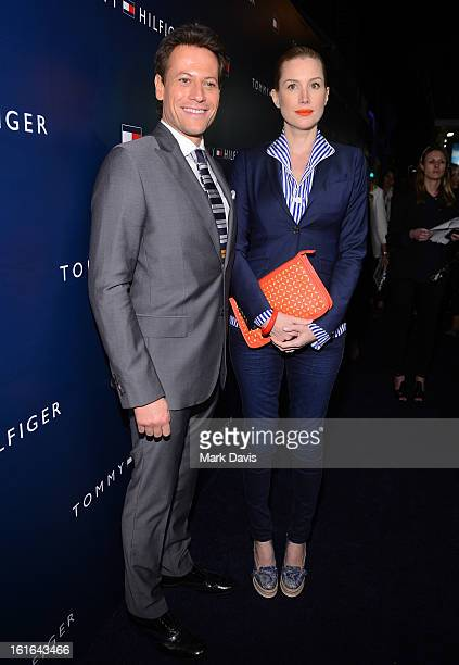 Actors Ioan Gruffudd and Alice Evans attend Tommy Hilfiger New West Coast Flagship Opening on Robertson Boulevard on February 13 2013 in West...