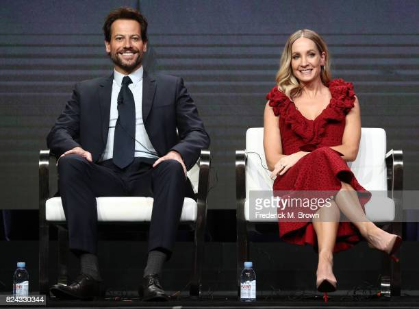 Actors Ioan Gruffudd and Joanne Froggatt of 'Liar' speak onstage during the SundanceTV portion of the 2017 Summer Television Critics Association...
