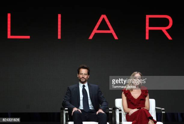 Actors Ioan Gruffudd and Joanne Froggatt of 'Liar' speak onstage during the Sundance TV portion of the 2017 Summer Television Critics Association...
