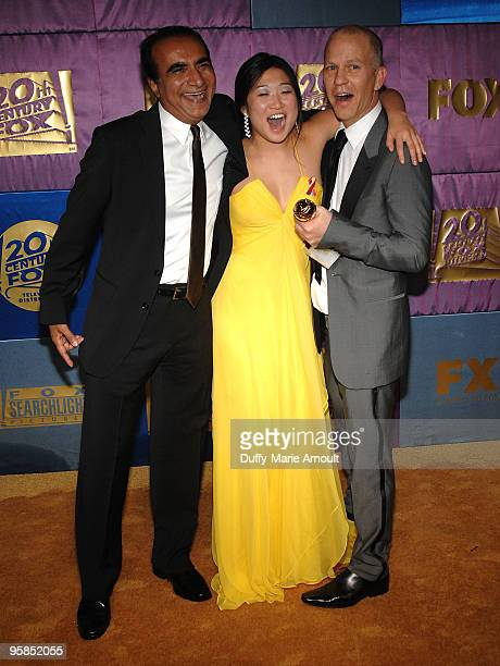 Actors Iqbal Theba and Jenna Ushkowitz and writerproducer Ryan Murphy attend Fox's 2010 Golden Globes Awards Party at Craft on January 17 2010 in...
