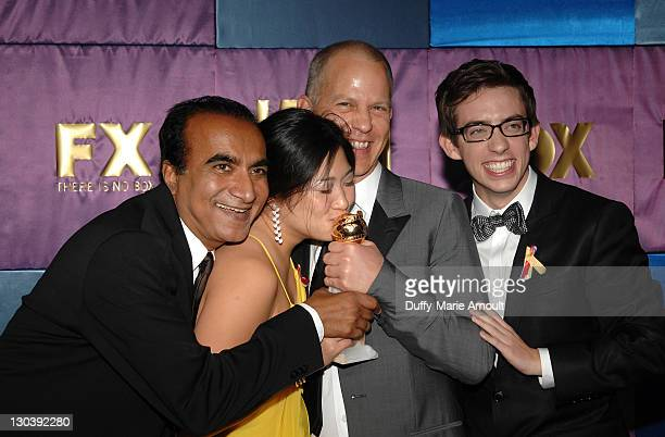 Actors Iqbal Theba and Jenna Ushkowitz, writer-producer Ryan Murphy and Kevin McHale attend Fox's 2010 Golden Globes Awards Party at Craft on January...