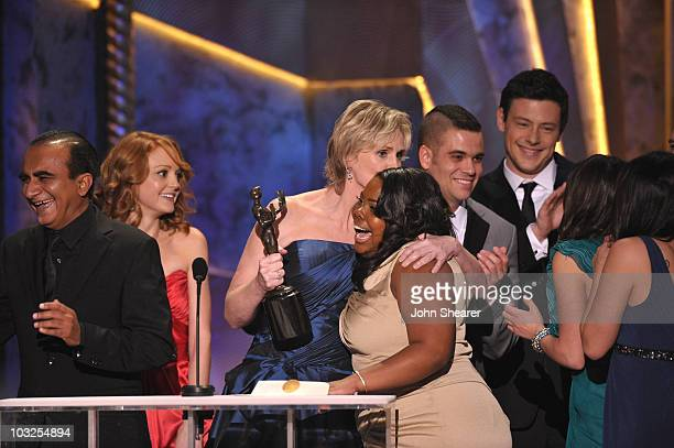 Actors Iqbal Theba Jayma Mays Jane Lynch Mark Salling Amber Riley and Cory Monteith onstage at the TNT/TBS broadcast of the 16th Annual Screen Actors...