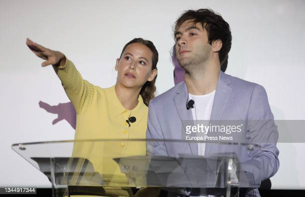 Actors Irene Escolar and Ricardo Gomez at the press conference where they have unveiled the film that will represent our country in the next edition...